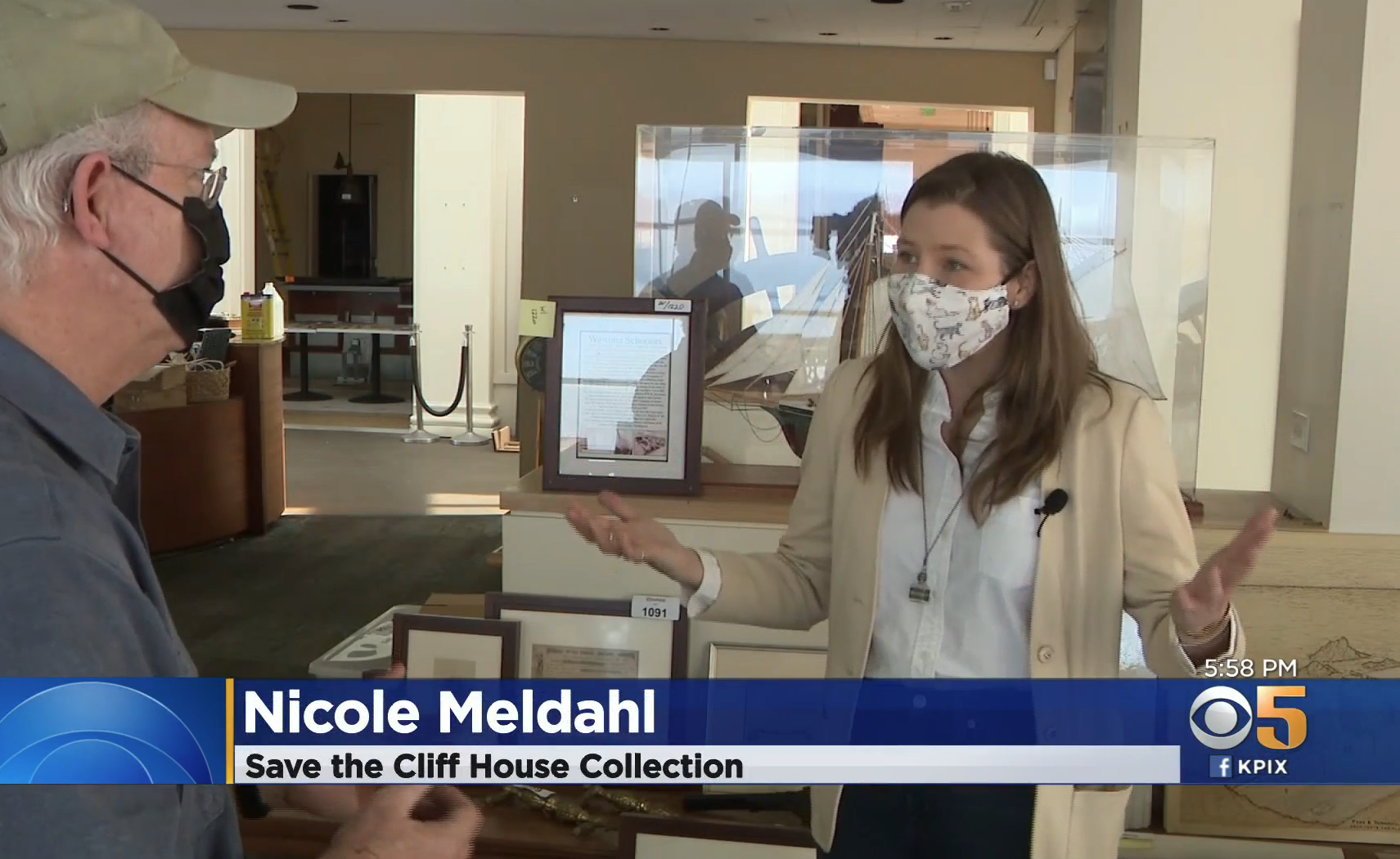 Nicole Mendahl being interviewed by KPIX Tom Ford