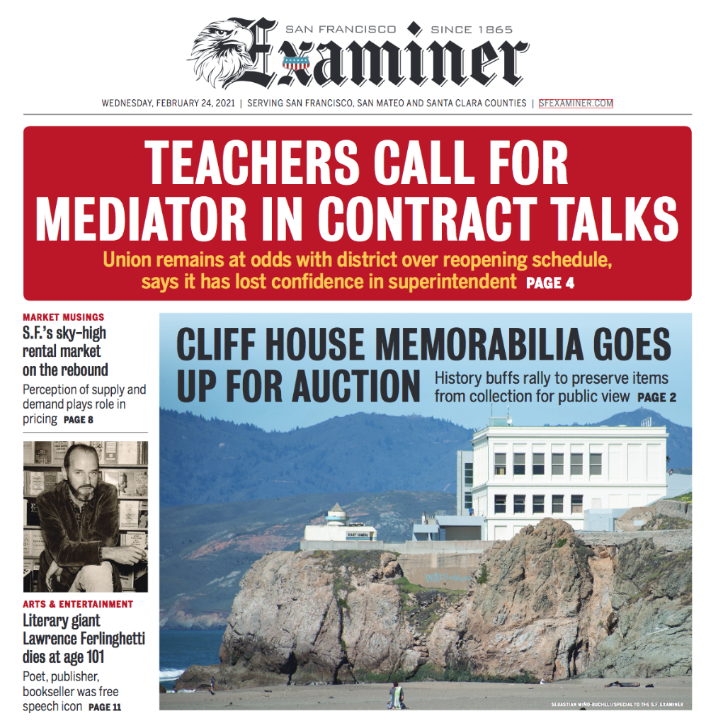 SF Examiner Front Page Article about saving the Cliff House Collection