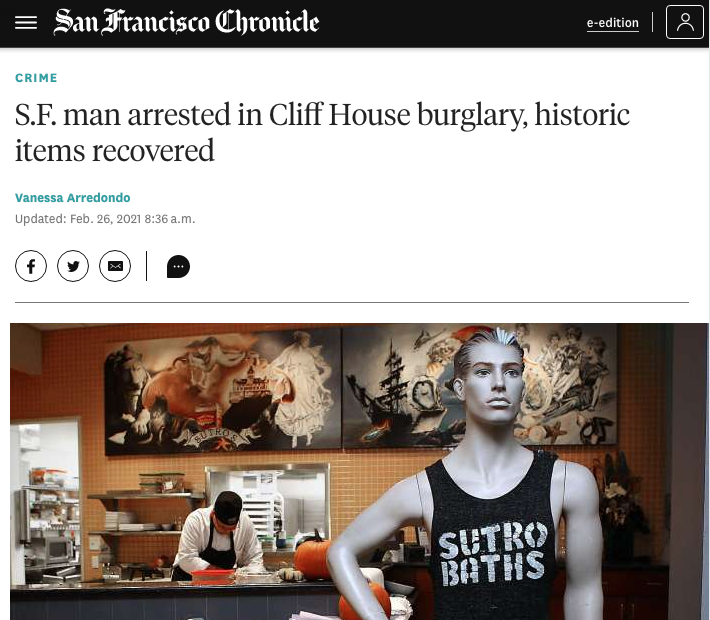 SF Chronicle Article Man arrested for Cliff House Burglary
